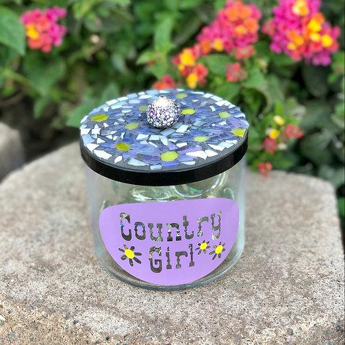 Country Girl Mosaic Jar