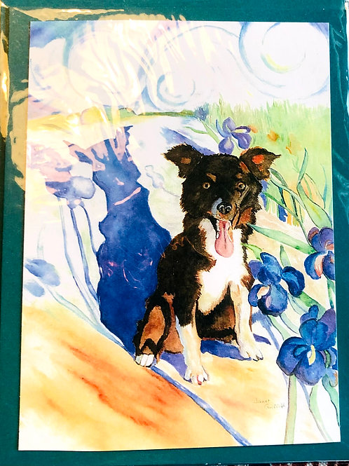 Border Collie Pup Watercolor Print Card #31