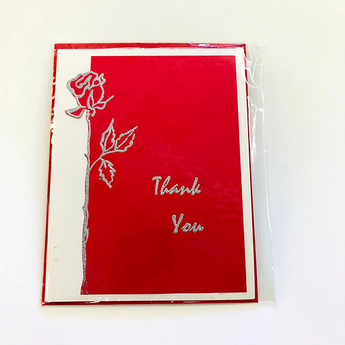Red Thank You Handmade Card