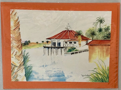 Boathouse Watercolor Print Card #9