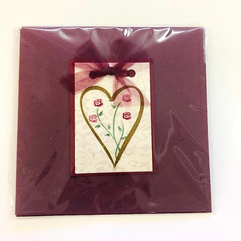 Burgundy Heart #166 Handmade Card