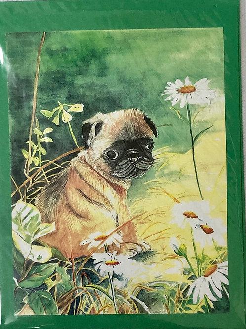 Pug Watercolor Print Card