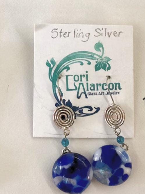 Fused Glass and Sterling Silver Earrings #11