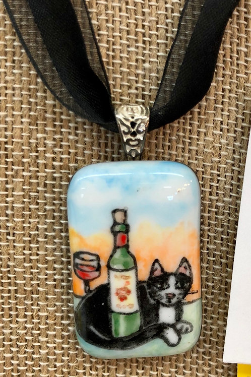 Fused Glass Kitty Pendant