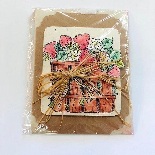 Basket of Strawberries #160 Handmade Card