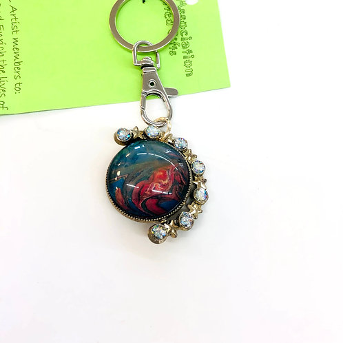 Blue/Pink Round Acrylic Pour Key Chain #38