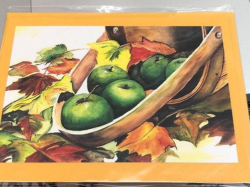 Green apples Watercolor Print Card