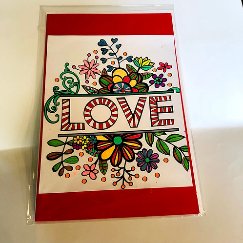 Red LOVE #179 Hand-colored Card