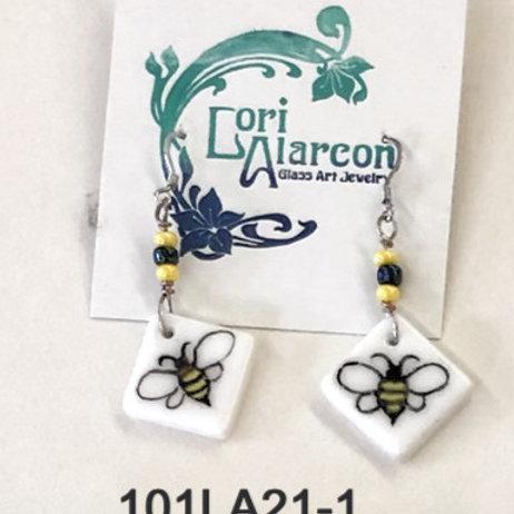 Fused Glass Earrings Bees #1