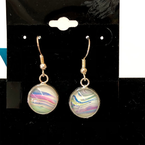 Acrylic Pour Earrings (round) #52