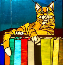 """""""Literary Cat"""", Stained Glass"""