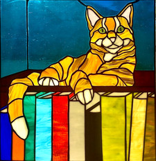 """Literary Cat"", Stained Glass"