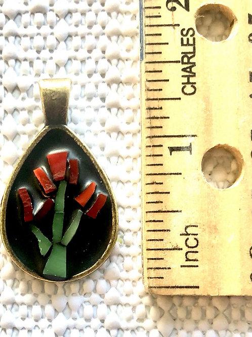 Red Flower Micro Mosaic Pendant