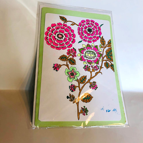 Light Green Floral #176 Hand-colored Card