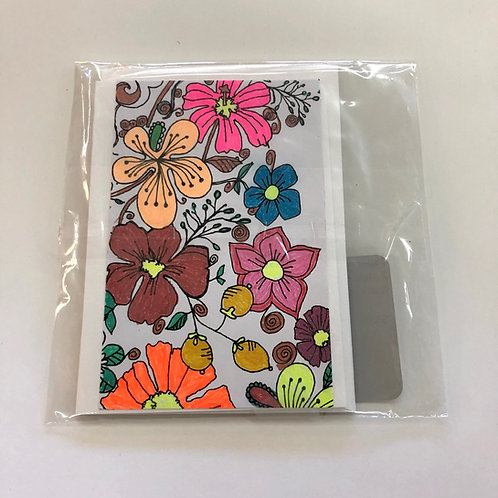 Hand Colored Flowers Cards 2 Pack