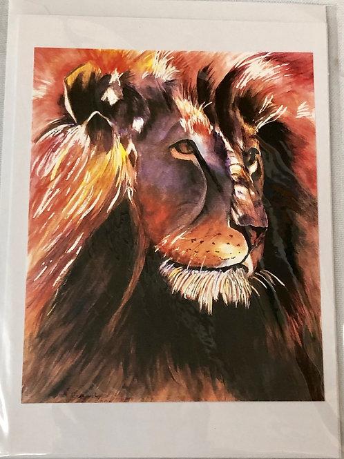 Lion Watercolor Print Card