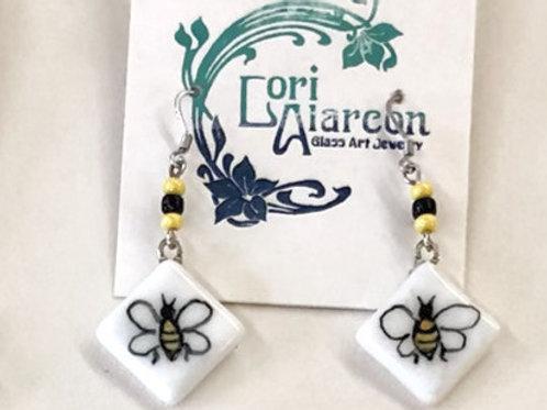 Fused Glass Earrings Bees #2
