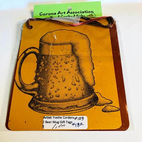 Beer Mug Handmade Gift Tags 2 pack
