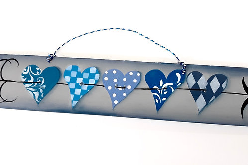 Blue heart board sign