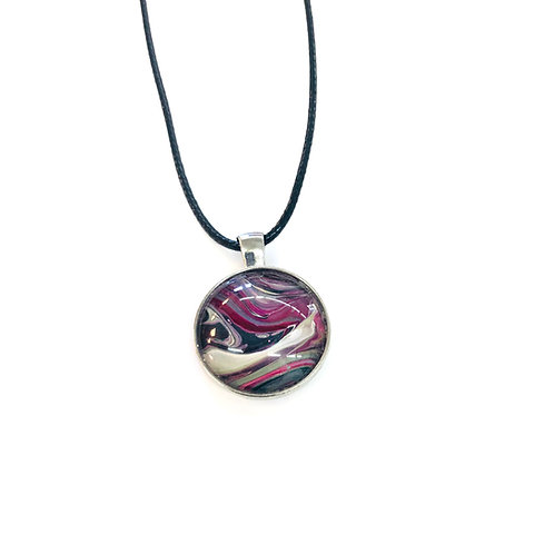 Pink/Grey Round Acrylic Pour pendant #5