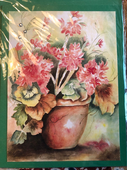 Red Potted Plant Watercolor Print Card #26