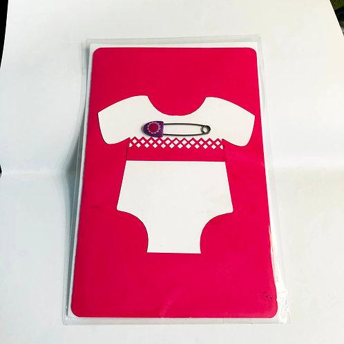 Fuchsia Pink Pin Baby Handmade Card #172