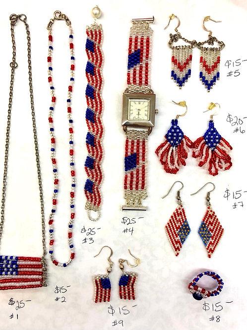 Patriotic Handbeaded Jewelry