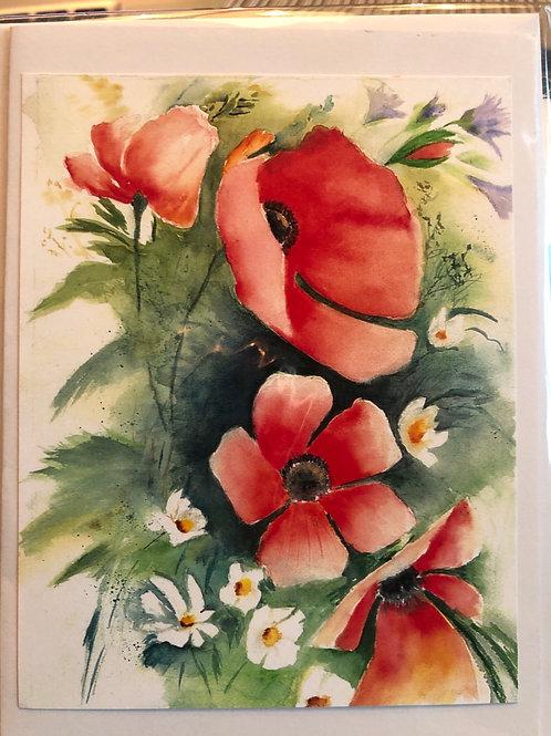 Poppies 2 Watercolor Print Card #16