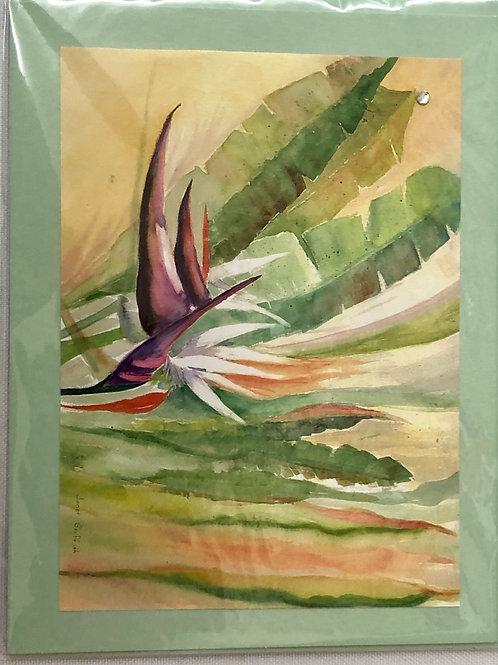 Bird of Paradise Flower Watercolor Print Card #32