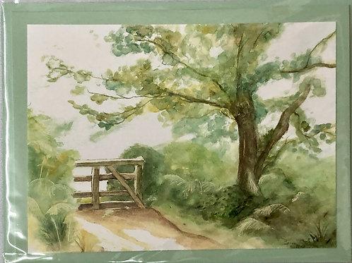 Country Lane Watercolor Print Card #29