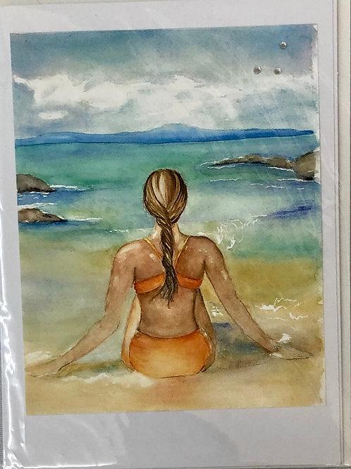 Girl on the Beach Watercolor Print Card #12