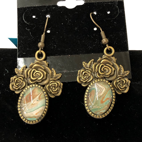 Acrylic Pour Earrings Bronze Roses #58