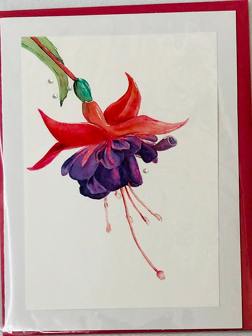 Red and Purple Flower Watercolor Print Card #27