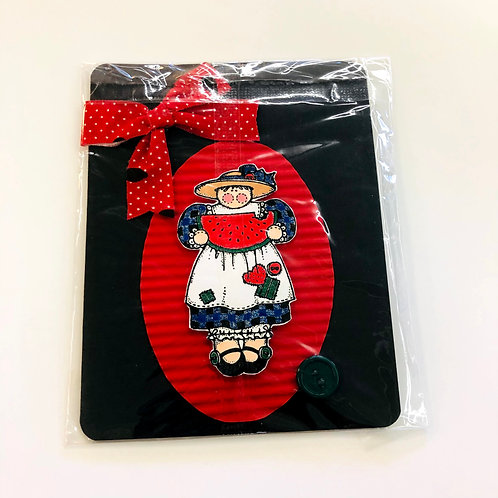 Watermelon/Red Ribbon #164 Handmade Card