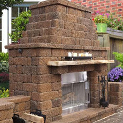 outdoor fireplace block paver wall