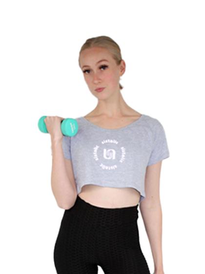 Ladies Power Cropped T-Shirt - Grey Melange