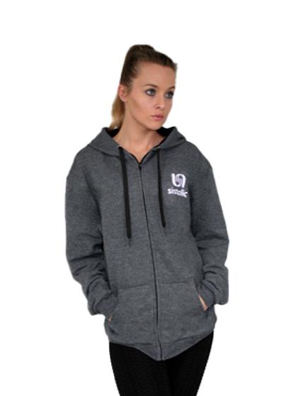 Ladies Warm Up Zipped Hoody - Charcoal Grey