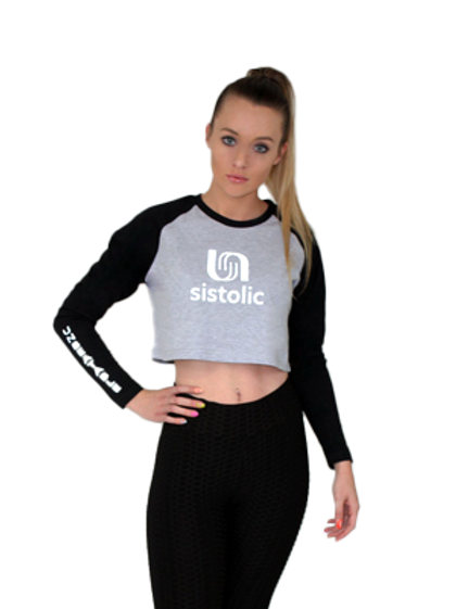Ladies Interval Crop Top - Grey Melange
