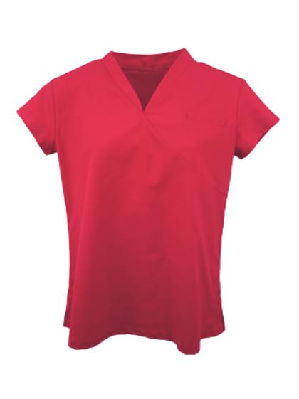 Ladies Survival Selection Scrub Top - Dark Red