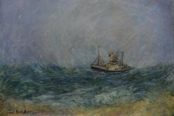 """Trader Battling High Seas, 36"""" x 44"""""""