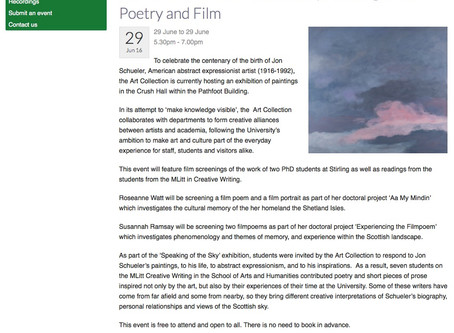 Speaking of the Sky: Jon Schueler in Stirling. A View of the Scottish Landscape through Art, Poetry