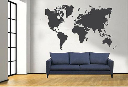 Αυτοκόλλητο Τοίχου - Παγκόσμιος Χάρτης