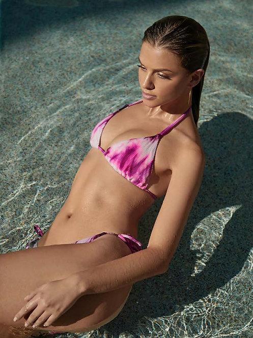 spell tri pink bikini tie dye top pilyq swimwear