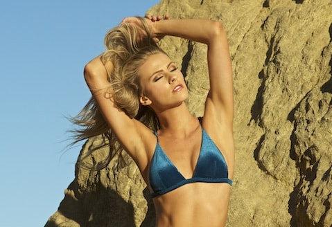 Top Elizabeth Jane Isla Blue Velvet Bikini Fixed Triangle