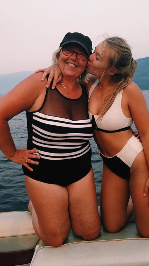 Linda in a one piece swimsuit with her daughter Amanda in a bikini. They live in Vancouver and are customers of Sun Vixen Swimwear online boutique