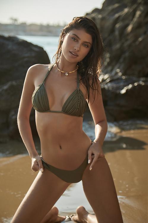 army green bikini top isla triangle moss pilyq