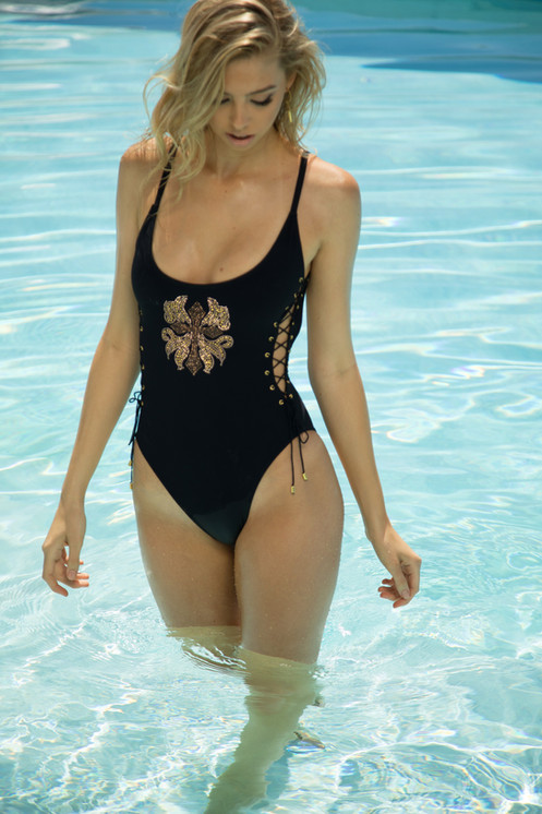 55ae67ccc7d One Piece Swimsuit Gold Studded | Sauvage Swimwear| Sun Vixen Swimweaf
