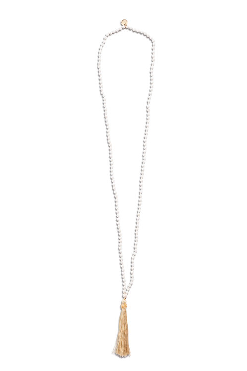 Beaded Limestone Necklace with tassel