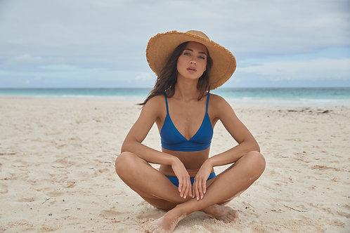 pq swim bralette bikini set island blue stitched kylie halter basic ruched full hipster bottoms