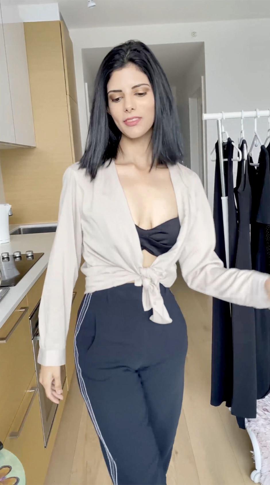 black pearl goddess bandeau bikini top Nimrit Sandhu
